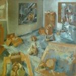 <b>Olivier MÔME</b><br>Atelier fin BA Programme<br>Acrylique sur jute - 120x120cm - 1997